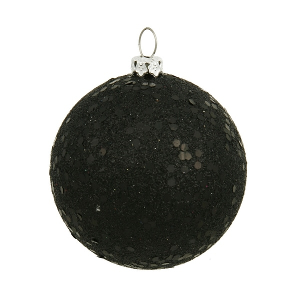 "6"" Black Sequin Ball Drilled 4/Bag"
