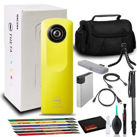 Ricoh Theta m15 Spherical VR Digital Camera (Yellow) with Power Bank Bundle Set