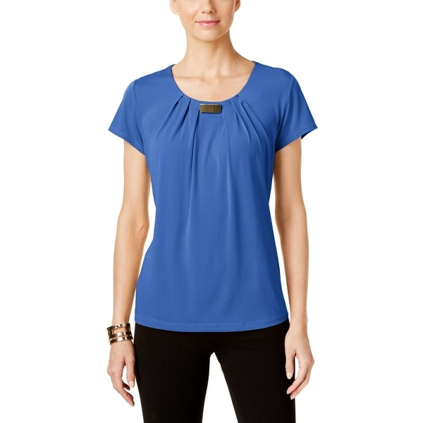 NY Collection Womens Pullover Top Pleated Neck Hardware Trim
