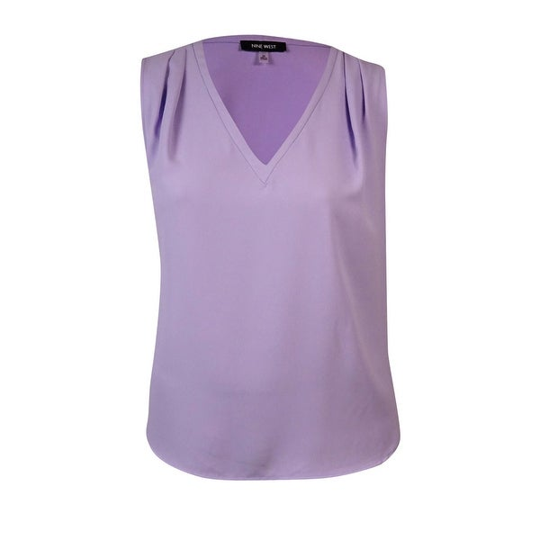 Nine West Women's Pleated V-Neck Blouse - Lilac - 3X