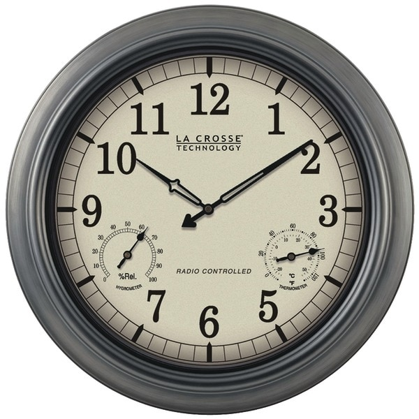 """La Crosse Technology Wt-3181P Indoor/Outdoor 18"""" Atomic Wall Clock With Thermometer Hygrometer"""