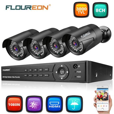 FLOUREON 1 X 8CH 1080P 1080N AHD DVR + 4 X Outdoor 3000TVL 1080P 2.0MP Camera Security Kit