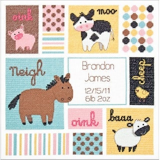 """Baby Hugs Barn Babies Birth Record Counted Cross Stitch Kit- - 12""""x12"""" 14 count"""