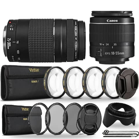 Canon EF-S 18-55mm III f/3.5-5.6 Camera Lens + 75-300mm Lens + Great Kit