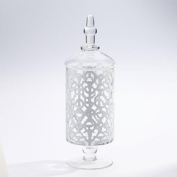"15"" Clear Handblown Jar with Finial Lid Tabletop Decor - N/A"