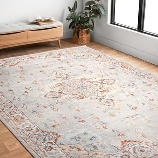 Link to Alexander Home Jennifer Collection Bohemian Border Distressed Area Rug Similar Items in Rugs