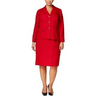 Le Suit Womens Plus Skirt Suit 2PC Tweed