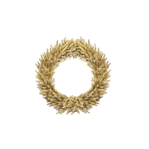 """24"""" Sparkling Champagne Gold Tinsel Artificial Christmas Wreath - Unlit"""