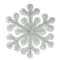 "10.5"" White Glitter Snowflake Hanging Christmas Decoration - silver"
