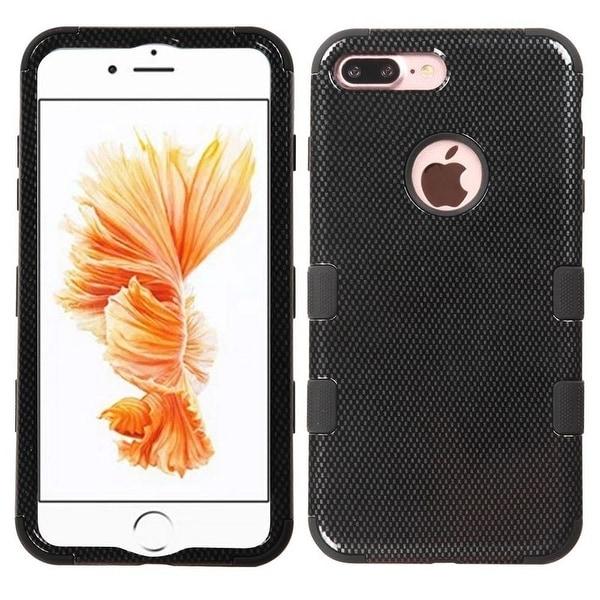 Insten Black Carbon Fiber Tuff Hard PC/ Silicone Dual Layer Hybrid Rubberized Matte Case Cover For Apple iPhone 7 Plus