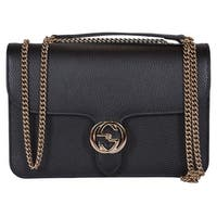 "Gucci 510303 Black Leather Interlocking GG Crossbody Purse Handbag - 11"" x 7"" x 2.5"""