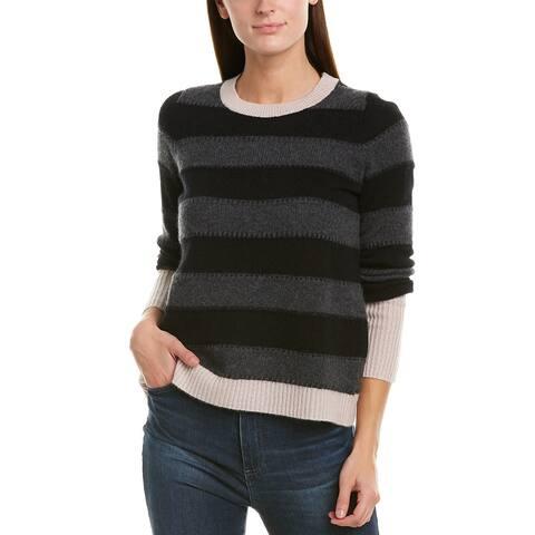 White + Warren Stitchy Cashmere Crew Sweater