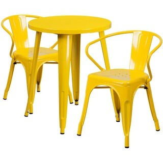 Brimmes 3pcs Round 24'' Yellow Metal Table w/2 Arm Chairs