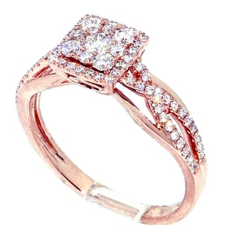 14K Rose Gold 0.53cttw Diamond Engagement Ring Woven Sized 7.5mm Wide(I/j Color 0.53cttw) By MidwestJewellery - White