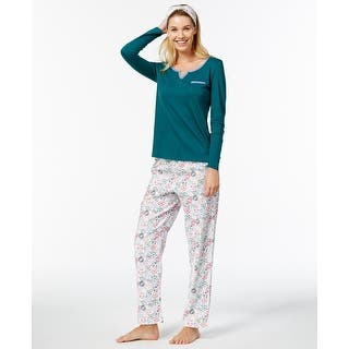 Nautica Women s Flannel-Trimmed Pajama Set With Headband Green White Size  2-Extra 08cc30abb