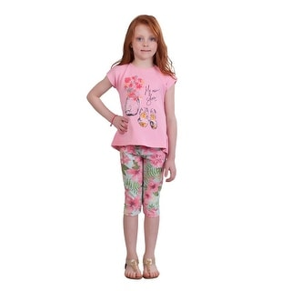Pulla Bulla Little Girl Floral Set Shirt and Leggings Outfit