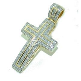 Gold And Diamond Cross Pendant 31mm 10K Yellow Gold 0.31cttw