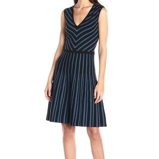 Anne Klein NEW Black Blue Womens Small S Striped V-Neck Sweater Dress