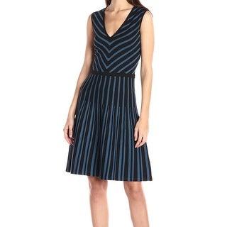 Anne Klein NEW Blue Black Women's Size Large L V-Neck Sweater Dress