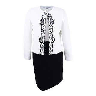 Tahari ASL Women's Embroidered Jacket Skirt Suit (14, Cloud White/Black)