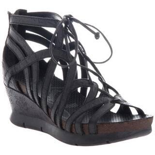 838cdc993ab553 OTBT Women s Nomadic Wedge Black Leather