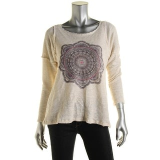 Project Social T Womens Graphic Raw Hem Pullover Sweater