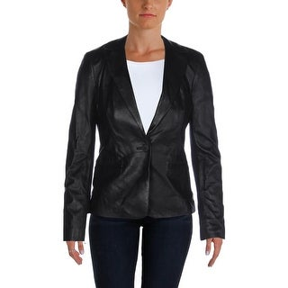 Donna Karan Womens Jacket Lambskin Leather Lined - p