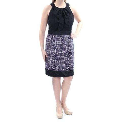 Womens Black Purple Sleeveless Knee Length Sheath Wear To Work Dress Size: 12