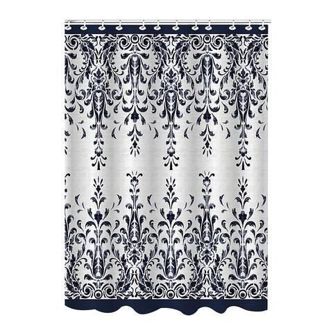 Bath Bliss Bamboo Jacquard Damask Shower Curtain, Indigo-Beige, 70x72 Inches - N/A