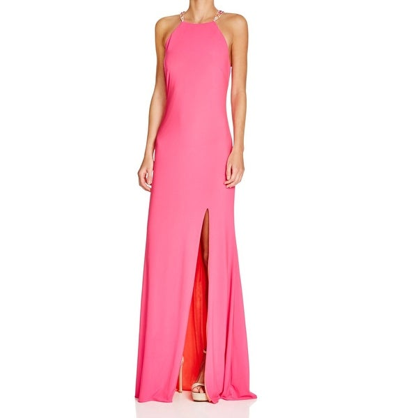 12b7057ab90 Betsy  amp  Adam NEW Pink Womens Size 6 Side-Slit Stretch Halter Ball Gown