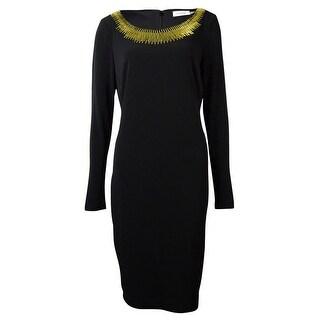 Calvin Klein Women's Embellished Neck Jersey Dress