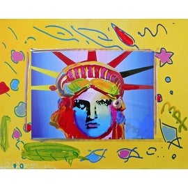 Liberty Head, Original Mixed Media Painting, Peter Max