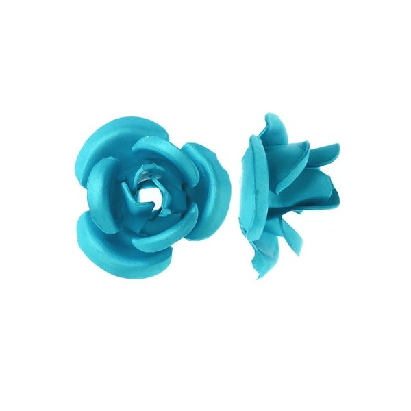 Metal Embellishments, Rose Flower Beads 6mm, 20 Pieces, Matte Aqua