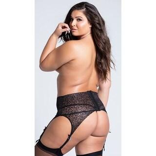Plus Size Black Lace High Waisted Garter Belt - XLarge