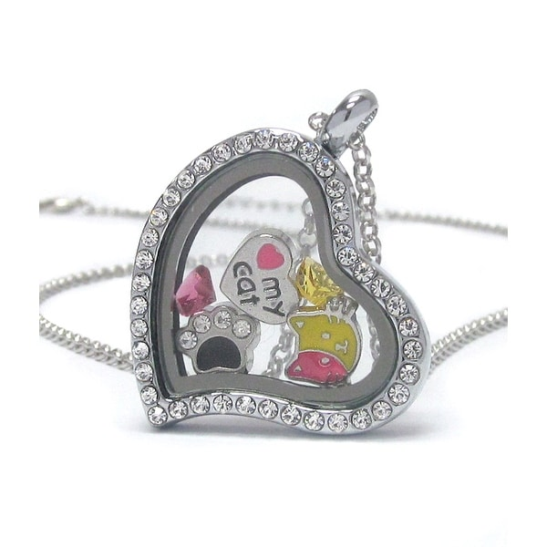 Heart Charm Locket Necklace for Cat Lovers