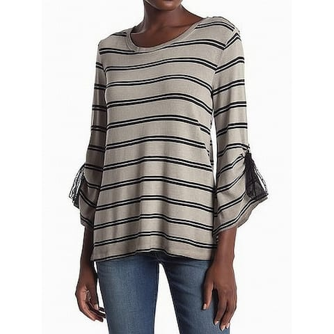 Democracy Gray Black Womens Size Small S Tie-Sleeve Striped Knit Top
