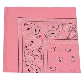 Unisex Pink Classic Paisley Pattern Cotton Soft Scarf Hairband Bandana