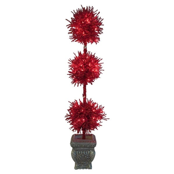 5' Pre-Lit Red Tinsel Triple Ball Potted Topiary Tree - Red Lights