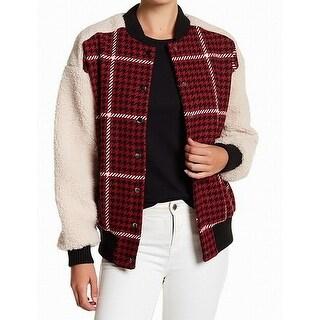 Ro & De NEW Red Black Womens Size Medium M Plaid Pocket Bomber Jacket