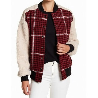 Ro & De NEW Red Black Womens Size Small S Houndstooth Bomber Jacket