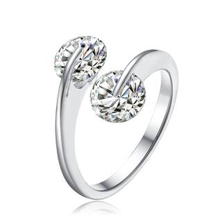 Collette Z Sterling Silver with Rhodium Plated Two Clear Round Cubic Zirconia Bypass Ring