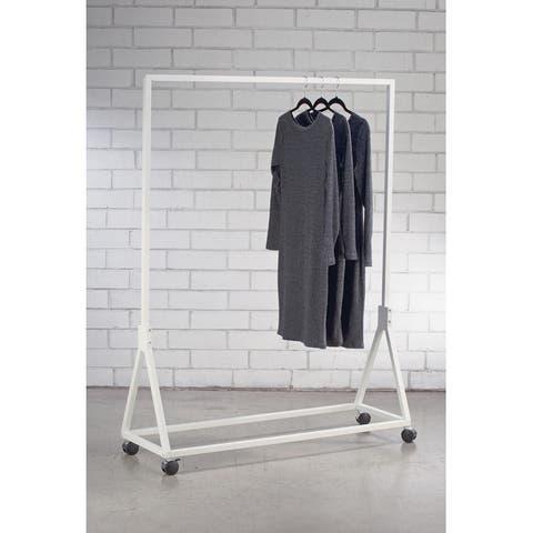 White Metal Garment Floor Rack