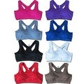 Women's 6-Pack Seamless Racer Back Solid Color Padded Sports Bras - Thumbnail 0