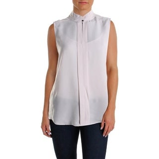 Nic + Zoe Womens Mandarin Collar Pleated Casual Top