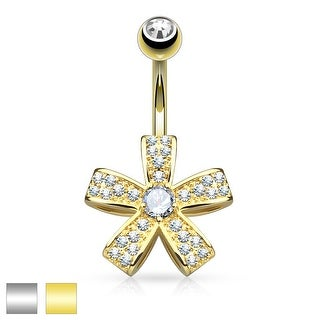 Micro Pave CZ Five Petal Flower with Round CZ Surgical Steel Belly Button Ring-14GA (Sold Ind.)