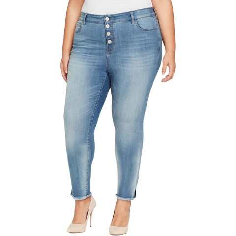 William Rast Womens Plus Cropped Jeans High Rise Mark Wash