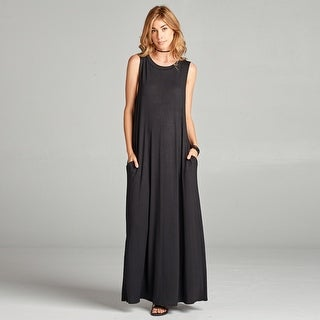 Sleeveless Solid Maxi Dress with Pockets
