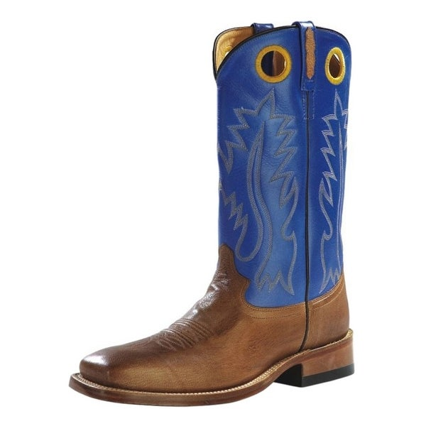 Old West Cowboy Boots Mens Rubber Square Toe Tan Canyon Blue