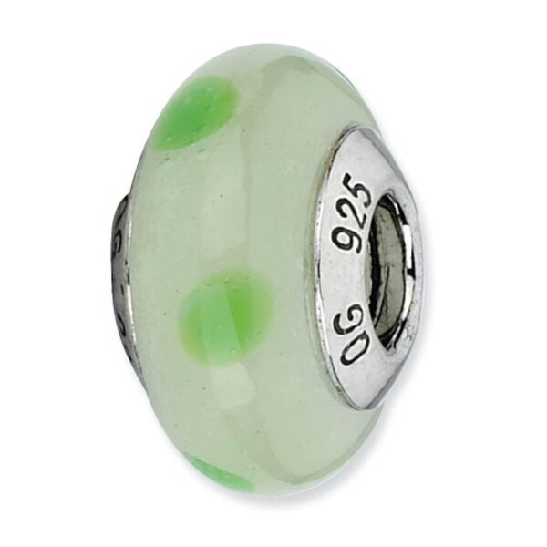 Italian Sterling Silver Reflections Lt Green with Green Dots Bead