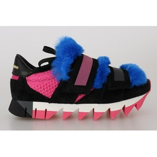 Dolce & Gabbana Black Leather Blue Fur Sneakers - eu38-5-us8